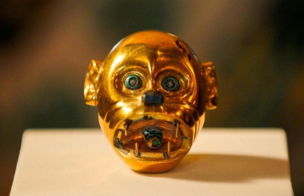 Moche Gold Monkey Head